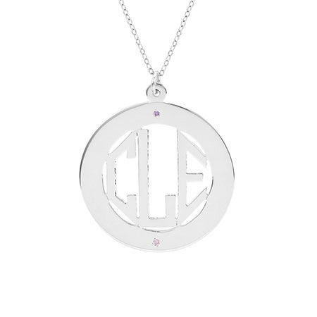 Custom Sterling Silver 2 Stone Block Monogram Necklace