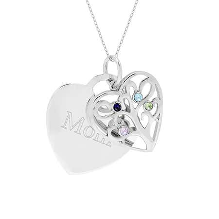 display slide 1 of 4 - Engravable 4 Birthstone Heart Family Tree Necklace - selected slide