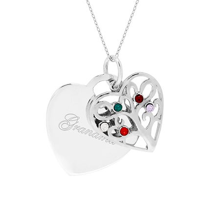 Engravable 5 Stone Heart Birthstone Family Tree Pendant