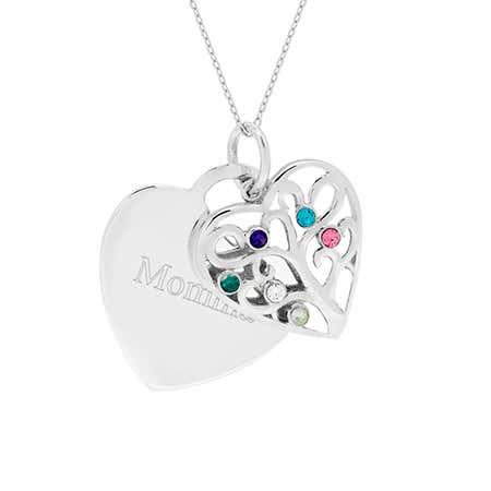 Engravable 6 Stone Heart Birthstone Family Tree Pendant