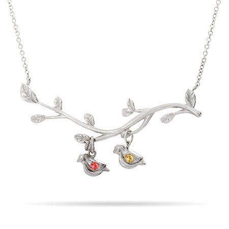 2 Birthstone Birds On A Branch Mother's Necklace
