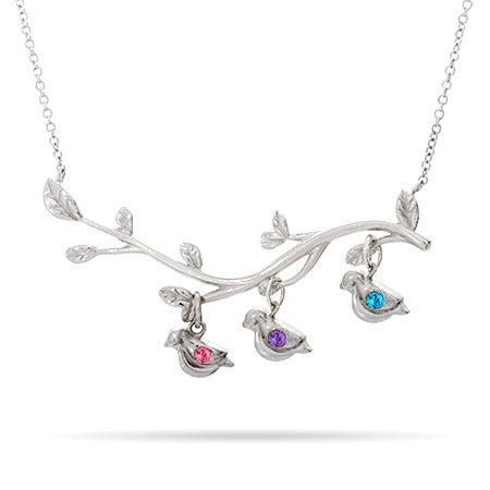 3 Stone Birds on Branch Mother's Necklace