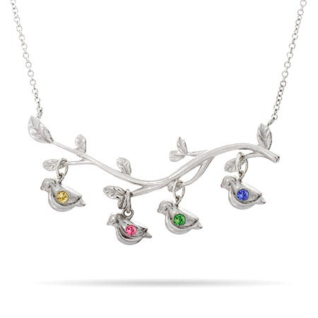 4 Stones Birthstone Birds on Branch Necklace | Eve's Addiction