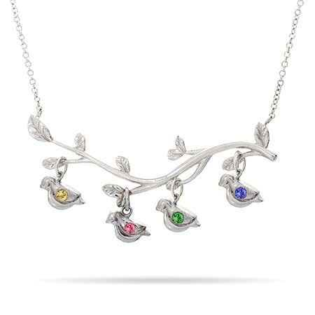 4 Stones Birthstone Birds on Branch Necklace