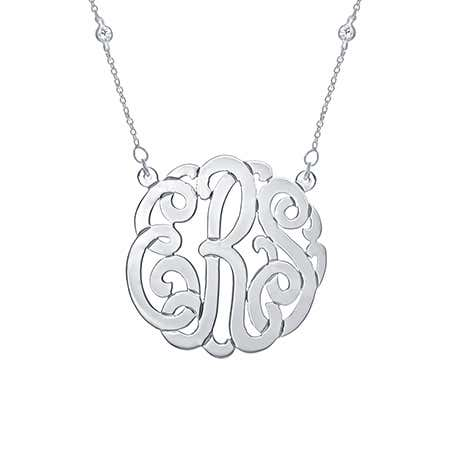 CZ Studded Chain Sterling Silver Monogram Necklace | Eve's Addiction®