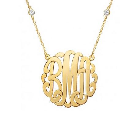 CZ Studded Chain Gold Vermeil Monogram Necklace