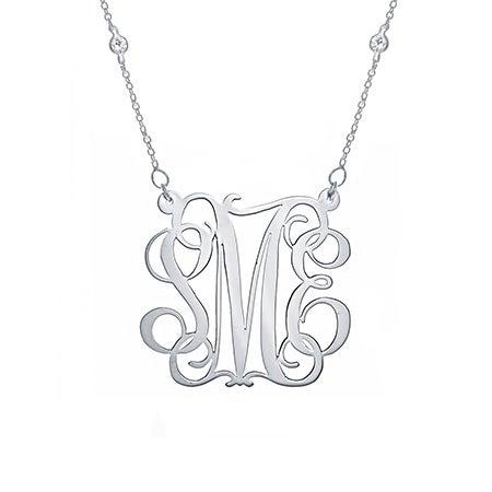 CZ Studded Chain Fancy Script Silver Monogram Necklace