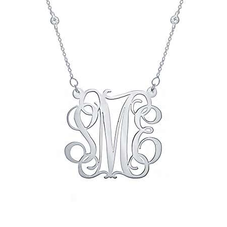 CZ Studded Chain Fancy Script Silver Monogram Necklace