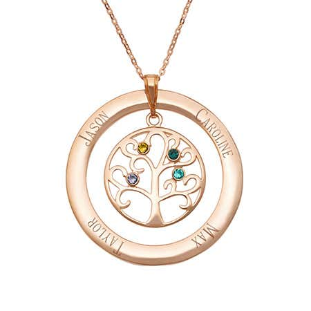 4 Stone Engraved Rose Gold Vermeil Birthstone Family Tree Pendant