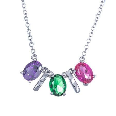 3 Stone Oval Birthstone Silver Bar Necklace