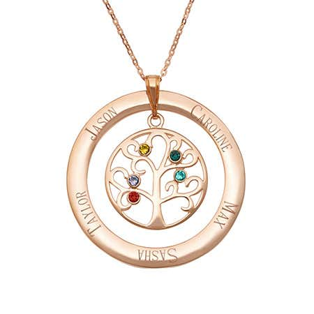 display slide 1 of 5 - Engravable 5 Birthstone Rose Gold Vermeil Family Tree Necklace - selected slide