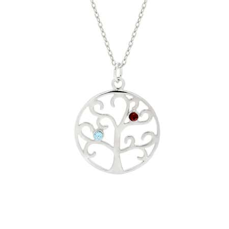 2 Stone Custom Birthstone Family Tree Necklace
