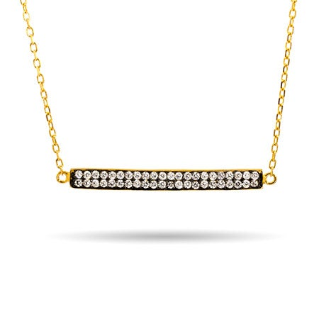 Gold and Black CZ Bar Necklace | Eve's Addiction®