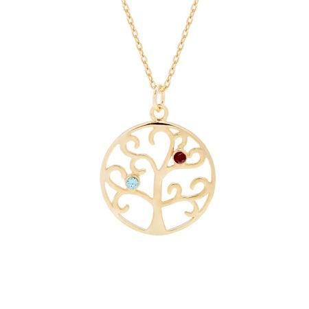 2 Stone Gold Vermeil Family Tree Pendant