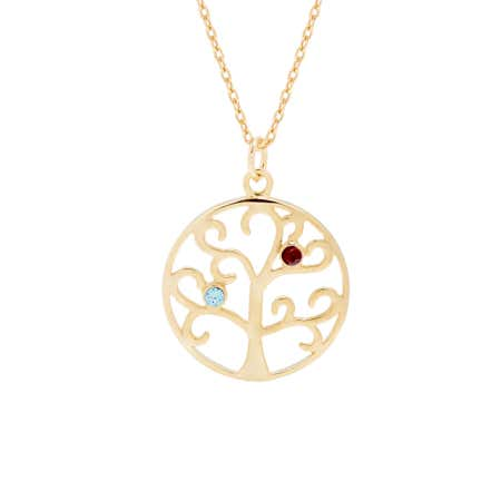2 Stone Gold Vermeil Family Tree Pendant