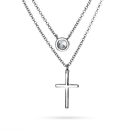 Layered CZ and Cross Necklace | Eve's Addiction