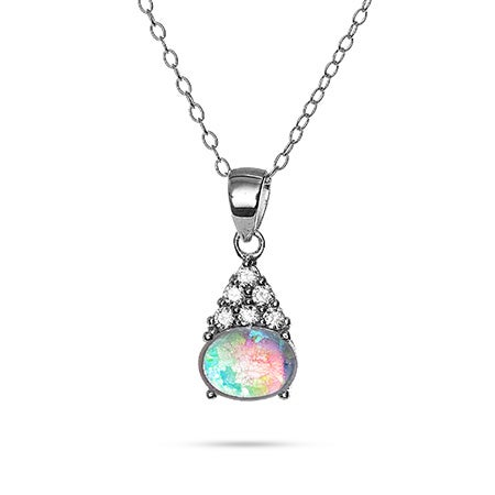 Oval Opal and CZ Cluster Pendant | Eve's Addiction