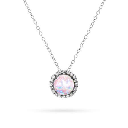 Cubic Zirconia Halo Opal Pendant Necklace
