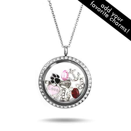 Diamond CZ Floating Charm Locket