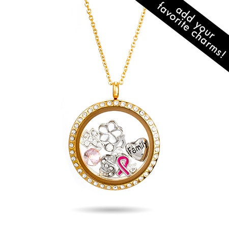 Gold CZ Round Floating Charm Locket | Eve's Addiction