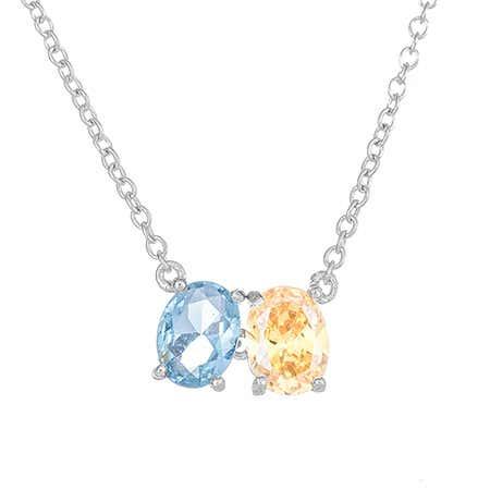 Custom 2 Oval Stone Silver Necklace