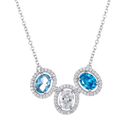 3 Birthstone Halo Oval Birthstone Necklace