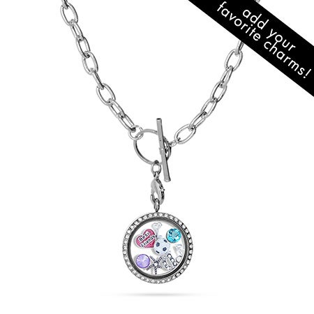 CZ Build A Charm Floating Locket on Toggle Chain