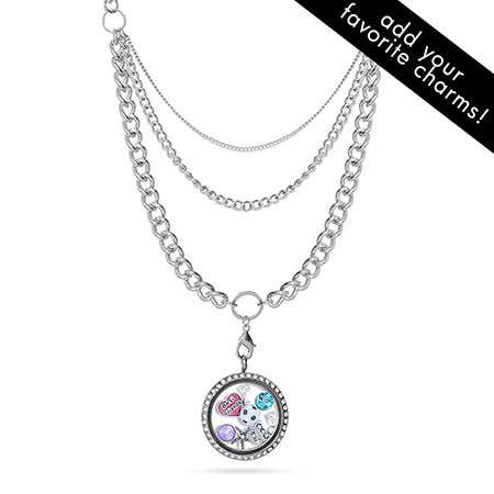 "Round Build A Charm Floating Locket on 28"" Layered Chain"