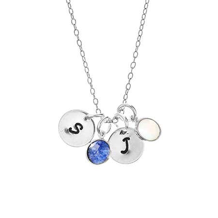 Hand Stamped Mini Initial Birthstone Necklace