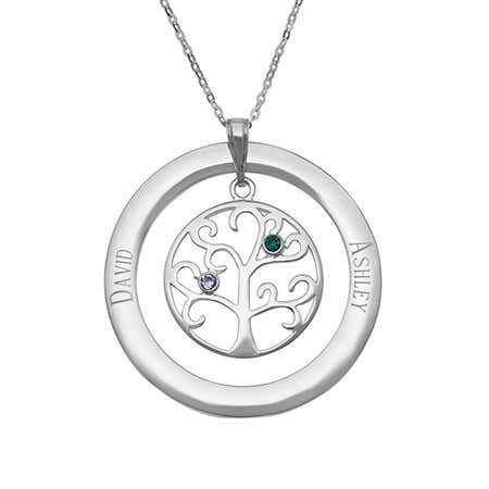 display slide 1 of 5 - 2 Stone Personalized Birthstone Family Tree Pendant - selected slide