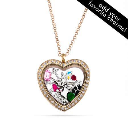 Gold CZ Heart Floating Charm Locket