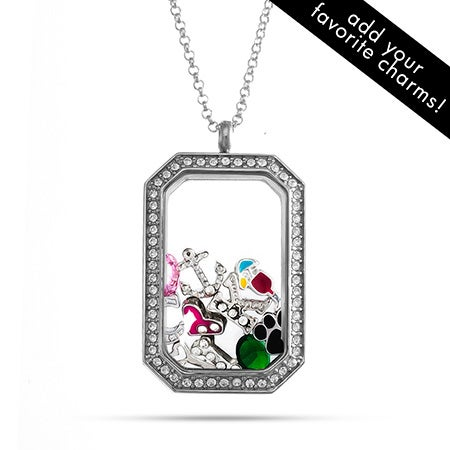 CZ Dog Tag Floating Charm Locket