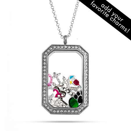 CZ Dog Tag Build A Charm Floating Locket