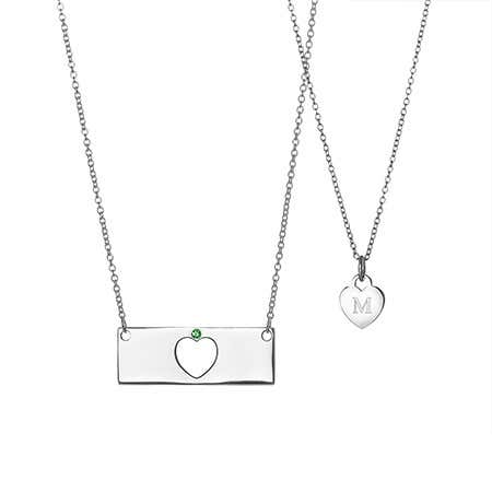 Mother Daughter Custom Birthstone Heart Bar Necklace Set