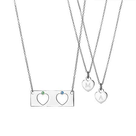 Mother Daughter 2 Child Birthstone Heart Bar Pendant Set