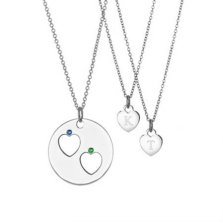 Mother Daughter 2 Child One For You, One For Me Birthstone Pendant Set