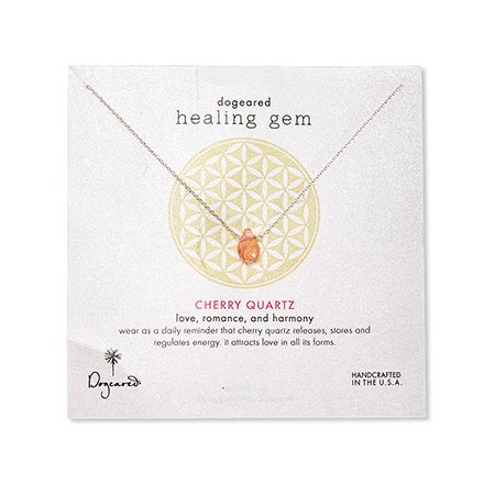 Dogeared Healing Gem Cherry Quartz Silver Necklace