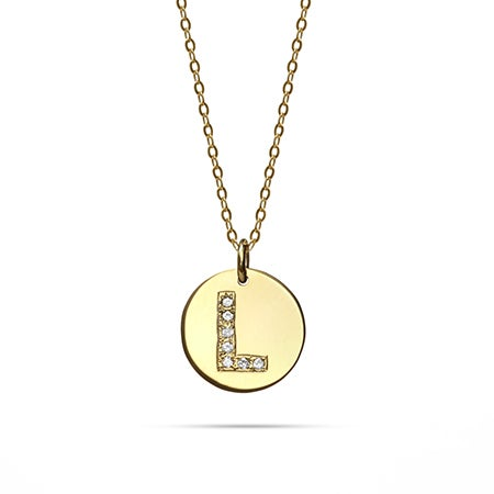 14K Gold Diamond Initial Disc Pendant | Eve's Addiction