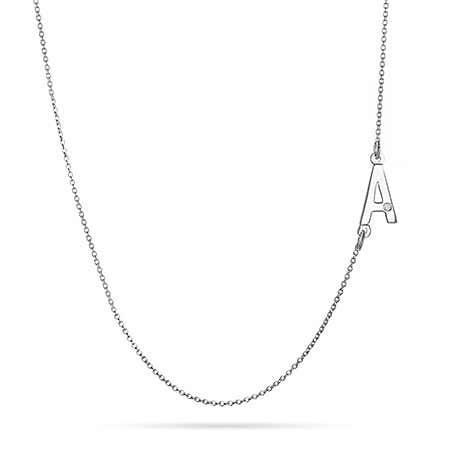 Sideways Initial Silver Necklace with Diamond