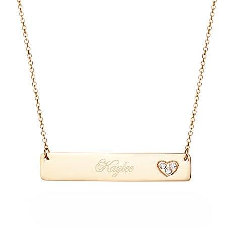 14K Gold Diamond Heart Bar Necklace