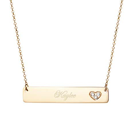 14K Gold Diamond Heart Bar Necklace