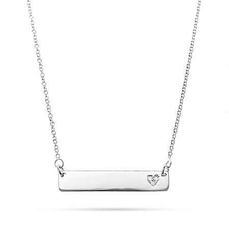 Engravable Silver Name Bar with Diamond Heart