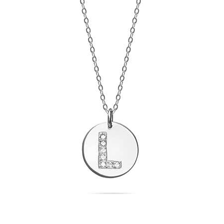 14K White Gold Diamond Initial Round Charm Necklace