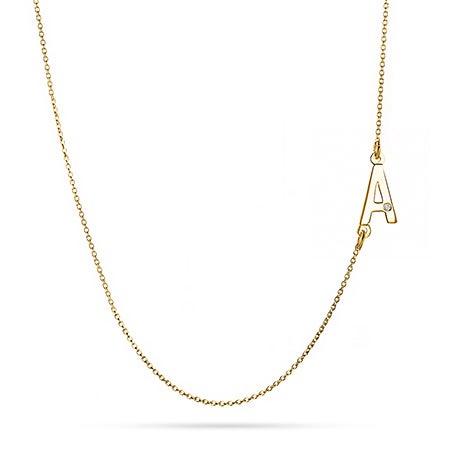 Sideways Initial Gold Vermeil Necklace with Diamond