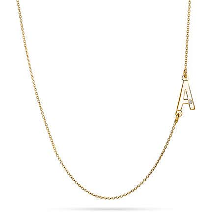 Sideways Initial Gold Vermeil Necklace with Diamond