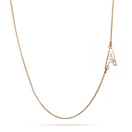 Sideways Initial Rose Gold Vermeil Necklace with Diamond