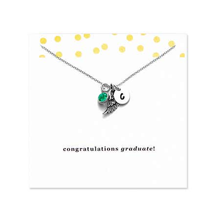 Initial and Angel Wing Graduation Necklace