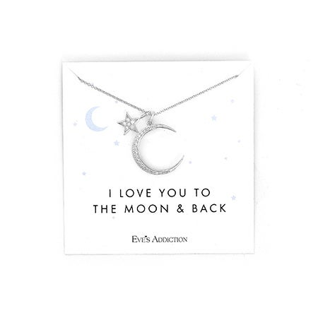 I Love You To The Moon and Back Moon and Star Silver CZ Necklace