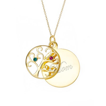 Engravable 2 Stone Gold Vermeil Birthstone Family Tree Pendant