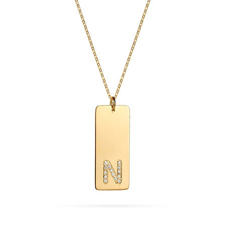 Diamond Initial Tag Pendant in Gold